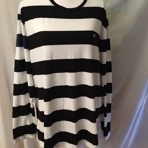 Lacoste black and white long sleeve striped shirt